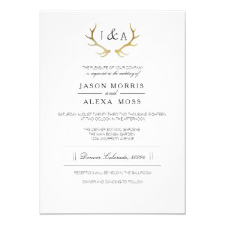 "Simply Rustic Gold Antler | Elegant Wedding 5"" X 7"" Invitation Card"