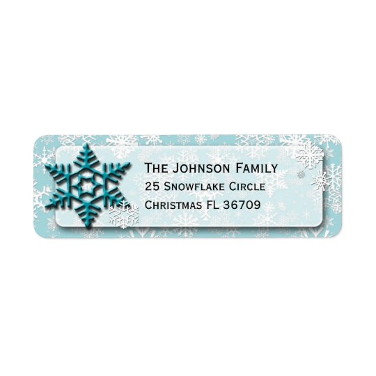 Simply Snowflakes • Refreshing Teal • Christmas Return Address Label