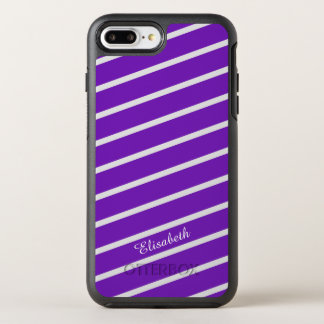 Simply Stripes purple + your backgr. & Name OtterBox Symmetry iPhone 7 Plus Case