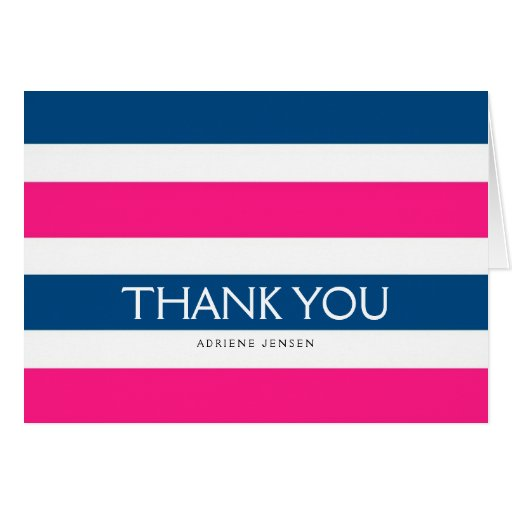 Simply Stripes Thank You Note Card / Navy Pink Card