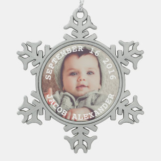 Simply Sweet Baby Photo Snowflake Pewter Christmas Ornament