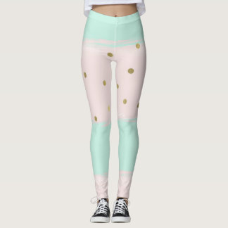 Simply Sweet Peach Mint Gold Stripes Confetti Leggings