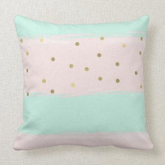 Simply Sweet Peach Mint Gold Stripes Confetti Throw Pillow
