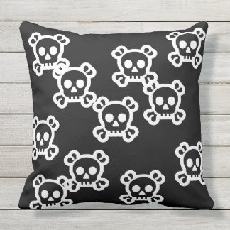 Simply Symbols - SKULL & BONES + your ideas Outdoor Pillow