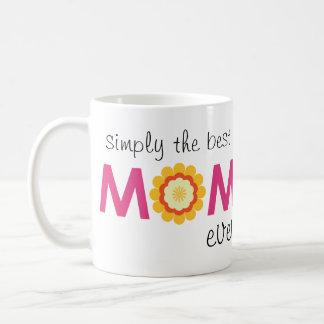 Simply the best mom ever pink flower photo heart basic white mug