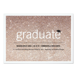 "Simply Timeless Modern Glitter Graduation Photo 5"" X 7"" Invitation Card"