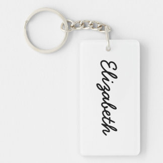 Simply White Solid Color Personalize It Custom Keychain