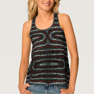 Simulated Beaded Print Design Tank Top