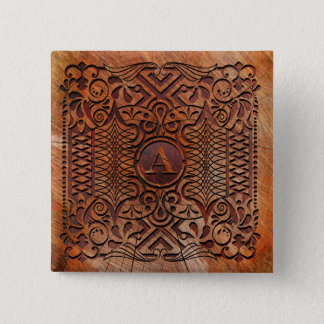 Simulated Wood Carving Monogram A-Z ID446 2 Inch Square Button