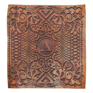 Simulated Wood Carving Monogram A-Z ID446 Bandana