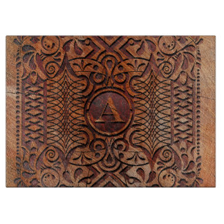 Simulated Wood Carving Monogram A-Z ID446 Cutting Board