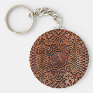 Simulated Wood Carving Monogram A-Z ID446 Keychain