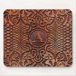 Simulated Wood Carving Monogram A-Z ID446 Mouse Pad