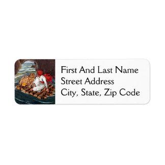 Sinbad the Sailor Shipwreck Treasure Illustration Return Address Label