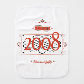 Since 2008 (Red&Black) Burp Cloth
