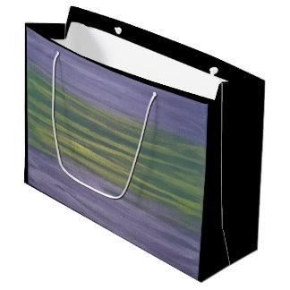Sincere Lime Green Purple Metallic Stripe Large Gift Bag