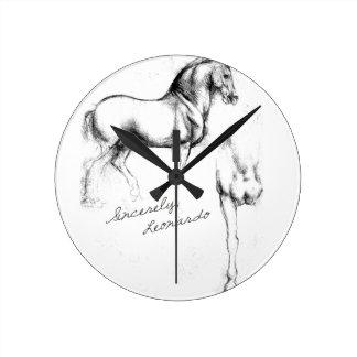 Sincerely Leonardo Horses Round Clock