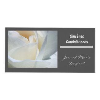 sinceres condoleances francais black white rose card