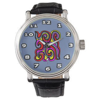 """Sincerity"" Black Vintage Leather Watch"