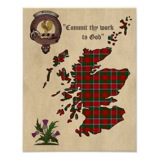 Sinclair Clan Badge and Tartan Poster 11x14
