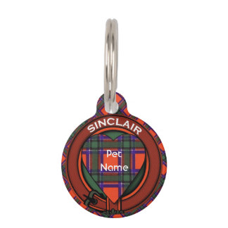 Sinclair clan Plaid Scottish tartan Pet ID Tag