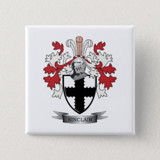 Sinclair Family Crest Coat of Arms 2 Inch Square Button