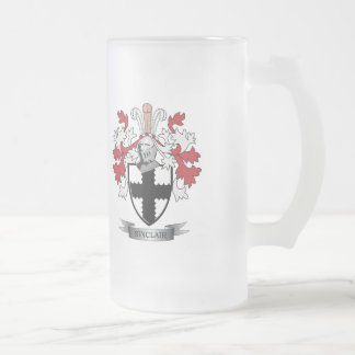 Sinclair Family Crest Coat of Arms Frosted Glass Beer Mug