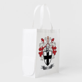 Sinclair Family Crest Coat of Arms Reusable Grocery Bag