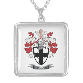 Sinclair Family Crest Coat of Arms Silver Plated Necklace