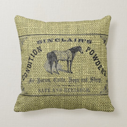 Sinclair's Condition Powders on Faux Burlap Throw Pillow