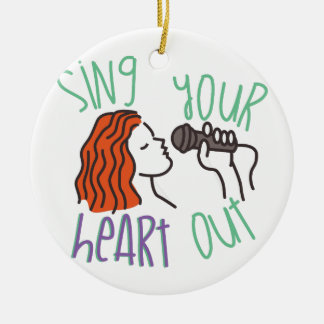 Sing & Heart Out Round Ceramic Ornament