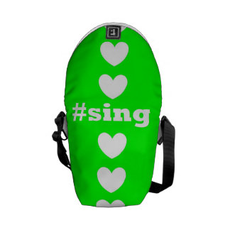 """SING HEARTS"" Green and White Messenger Bag"