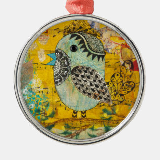 SING Mixed Media Collage Christmas Tree Ornaments