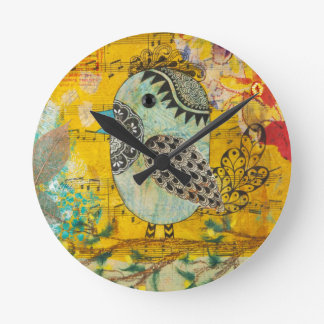 SING Mixed Media Collage Wall Clock