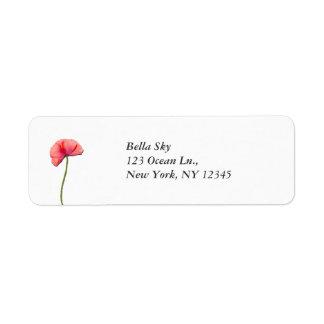 Sing red poppy flower minimalist simplicity custom return address labels