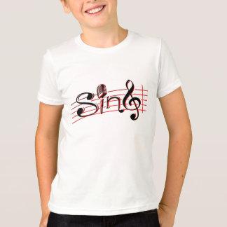 Sing retro mic kids white red and black logo tee