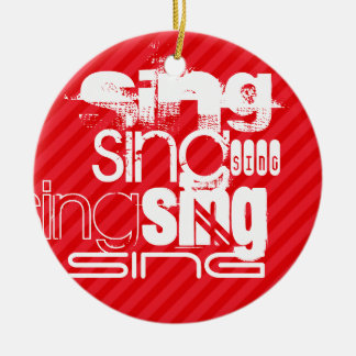 Sing; Scarlet Red Stripes Round Ceramic Ornament