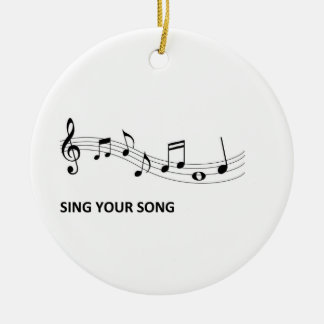 Sing Your Song Round Ceramic Ornament