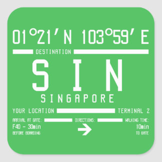Singapore Changi International Airport Code Square Sticker