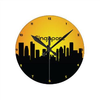 Singapore CityScape Night Silhouette Wall Clock
