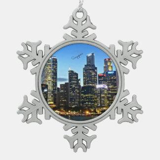 Singapore cityscape snowflake pewter christmas ornament