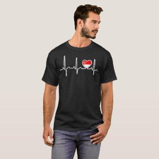 Singapore Country Flag Heartbeat Pride Tshirt