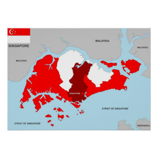 singapore country political map flag posters