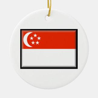 Singapore Flag Ceramic Ornament