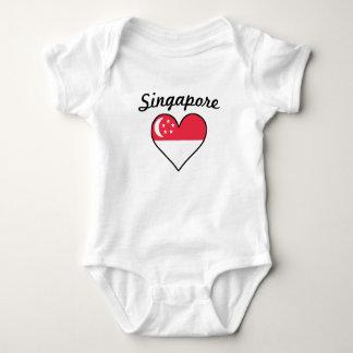 Singapore Flag Heart Baby Bodysuit