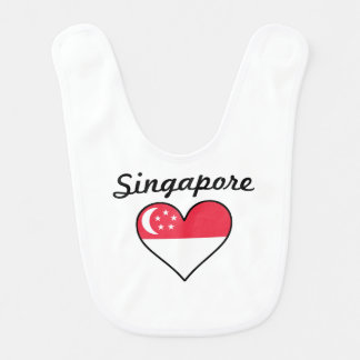 Singapore Flag Heart Bib