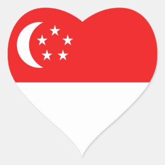 Singapore Flag Heart Sticker
