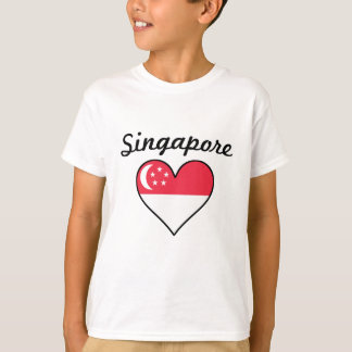 Singapore Flag Heart T-Shirt