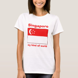 Singapore Flag + Map + Text T-Shirt