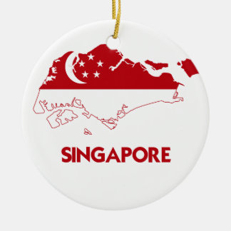 SINGAPORE MAP CERAMIC ORNAMENT